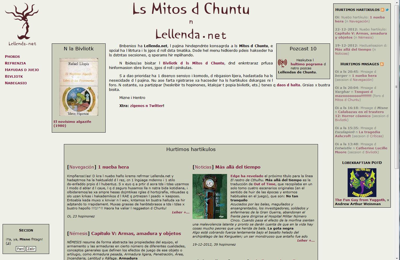 página principal de leyenda.net el día de los inocentes 2012